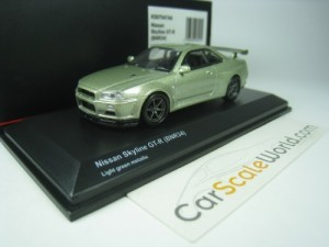 NISSAN SKYLINE GT-R BNR34 1/64 KYOSHO (LIGHT GREEN